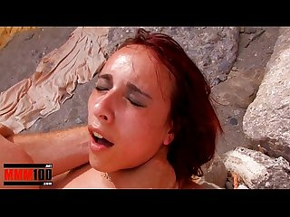 Young spanish girl brutal deepthroat and anal fuck at the beach