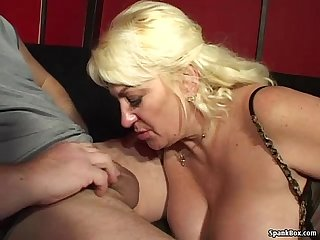 Big titted mature loves smoking and sucking