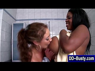 Busty black lez licked in shower