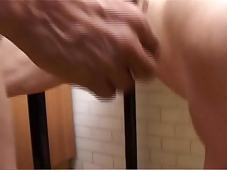 Horny grandma plays with zucchini and cock