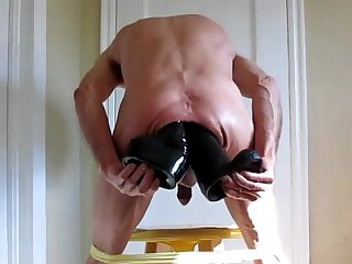 Huge Dildos Double Anal and Fisting Ass In Yellow Panties