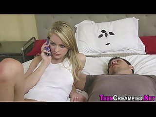 Blonde teen rammed hard