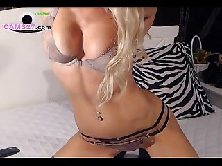 Blonde Super Hot Camgirl with Big Boobs Dildo action on CAMS27.com