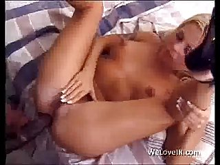 Blonde Babe Interracial fucking and cumshot