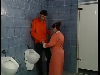 A real milf slut sucks cocks in the toilet