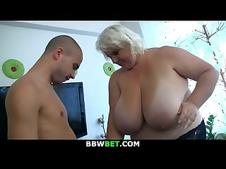 Huge boobs blonde woman gets doggy-fucked