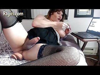 Cute chubby tranny jerking off and cums