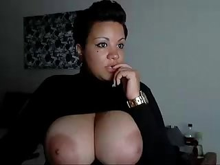 Black Marilyn Monroe shows tits on webcam show - more videos on dslwebcam.com