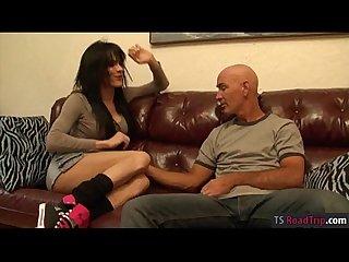Long legged Tranny jordan jay sucks off and Ass railed