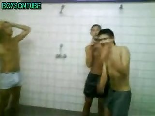 friends having fun on shower