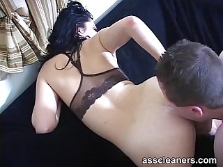 Mistress demands slave to lick her ass until it s cleaned