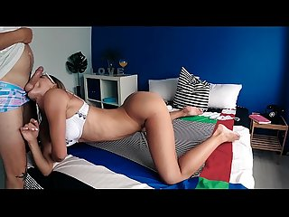 Sexy bitch with amazing ass gives a musical blowjob to her best friend and swallows cum
