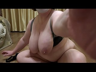 Mature milf with big tits and with big ass demonstrates A plump figure and masturbates hairy pussy c