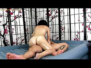 Erotic oil body rub down with sex and blowjob