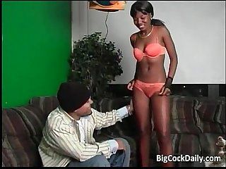 Sexy ebony chick sucks big cock and gets