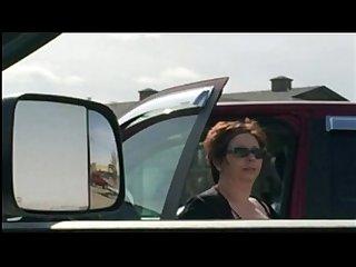 Car flash mature lady looks and looks