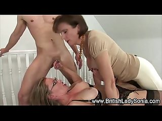 Lady Sonia threesome strapon fuck