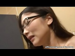 Horny japanese Av model in glasses seduces young guy