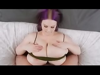 White BBW With huge tits gives perfect tit wank /w cumshot