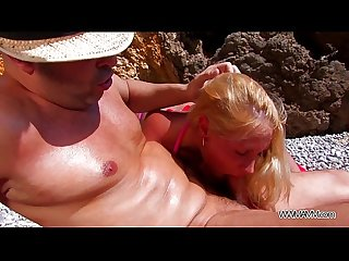 Rich pierced mom fucked hard to the ass on the beach by sea
