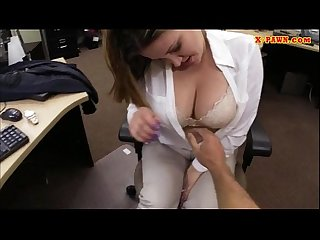 Sexy business woman banged by pawnkeeper to earn money