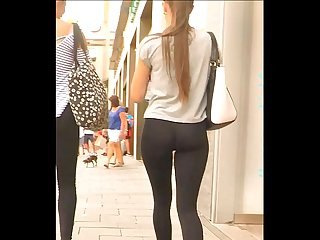 Petite girl in tight leggings