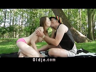 Hippie grandpa stuffing old cock in Macy Nata teen pussy forest fucking