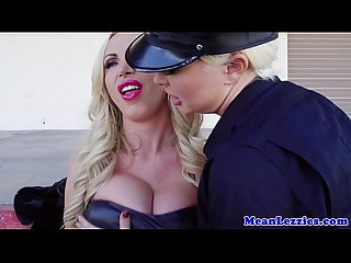 Rough bigtitted lezdom blonde spanks cop