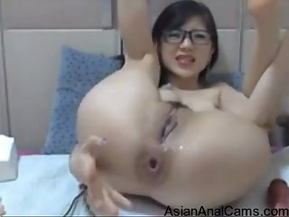 Nerdy Asian Teen Toys Her Ass Pussy And Squirts