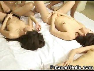 Futanari cum orgy