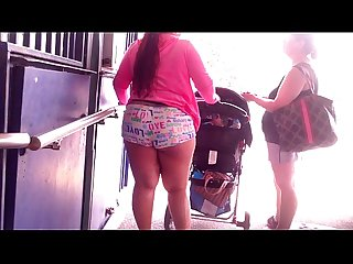 Bbw whooty booty pawg in cheek peeking shorts candid