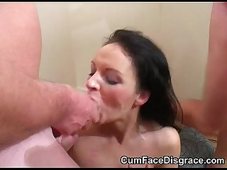 Slutty milf sucks eagerly on cock and takes cumshots