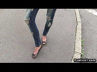Slim brunette amateur fucks outdoors