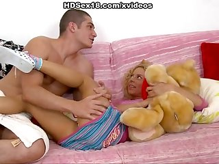 Blonde fucked in anal dildo