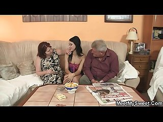 Innocent girl is seduced by her boyfriend s mom and fucked by old daddy