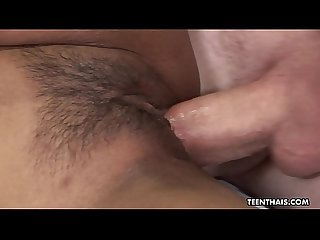 Glamorous Asian Teen enjoys being drilled by A white boner