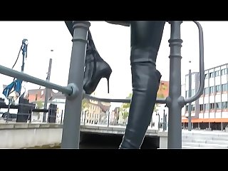 Best mom walking flashing leather thighboots see pt2 at goddessheelsonline period co period uk