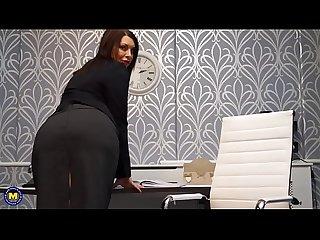 Hot european milf masturbating in the office