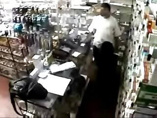 Addicted cute lady lets pharmacist have sex with her behind the counter for prescription medication