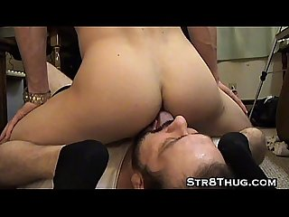 Str8thugmaster lets horny faggot worship his perfect ass