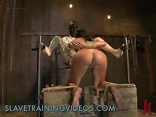 Chained and hooded babe fucked