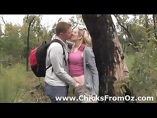 Amateur guy licks girlfriends cunt outdoors