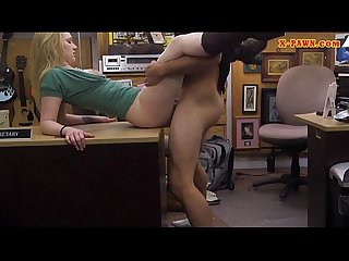 Pretty amateur blonde chick pawns her pussy for money