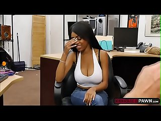 Ebony babe Brittney fucks Shawn for money in his office