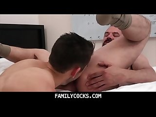 Old bear daddy exchanges rimjobs with son and fuck raw familycocks com