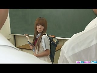 Two guys fuck sana tight holes in class