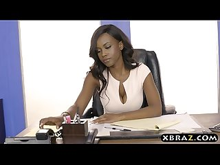 Black HR employee with big tits fucked in the office
