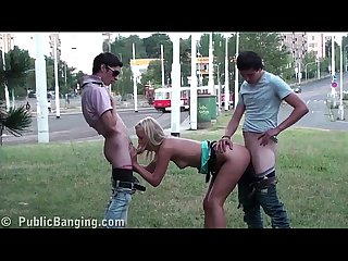 Young teens PUBLIC street orgy threesome with a cute blonde girl and 2 guys