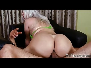Busty shemale anal banged until she cums