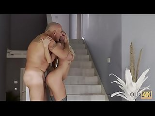 OLD4K. Hot passionate sex and orgasm with an older man